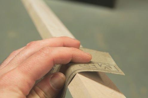 Sanding the board wood