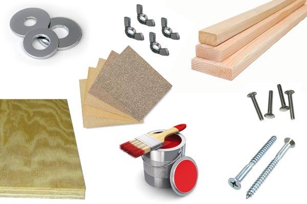 List of supplies for building cornhole boards