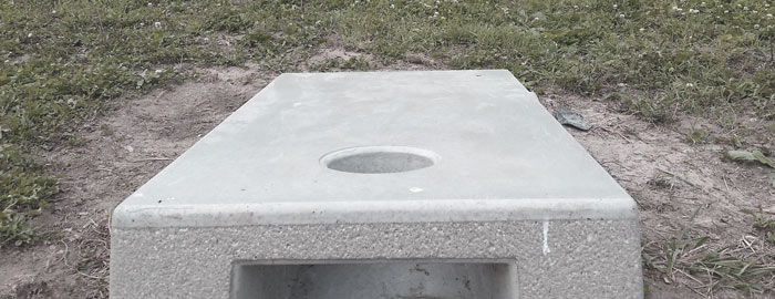 Cornhole board made out of concrete