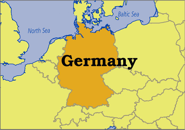 Mape of Europe with main focus on Germany