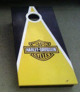 Yellow Harley Davidson cornhole board
