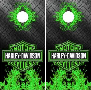 Yellow with flames cornhole harley decals