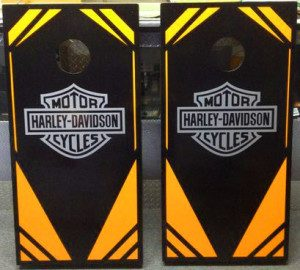 harley davidson decal with orange and black colors