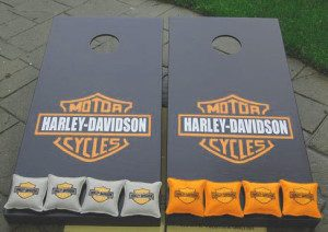 Mate black and strong orange harley cornhole boards