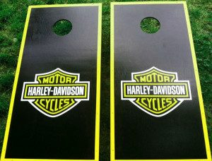 Black with green fluorescent harley davidson cornhole board