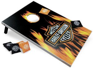 Flame bar cornhole board with Harley Davidson logo