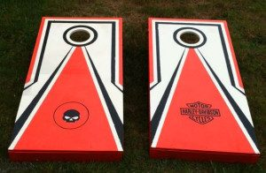 wooden mate red and white harley davidson corn toss board