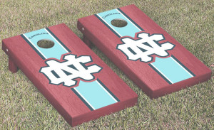 UNC cornhole board with red wood, blue colors and UNC logo