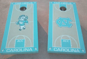 tar heels decals with blue and wood textures