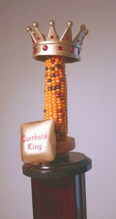 Cornhole trophy with real corn