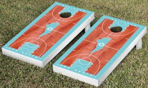 Red wood and Carolina blue cornhole board