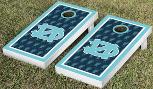 UNC boards with traditional North Carolina colors and textures along with Tar Heels logo