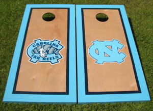 Simple UNC decals with blue color and wood texture along with Tar Heels logo