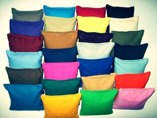 Different colors and types of bean bags